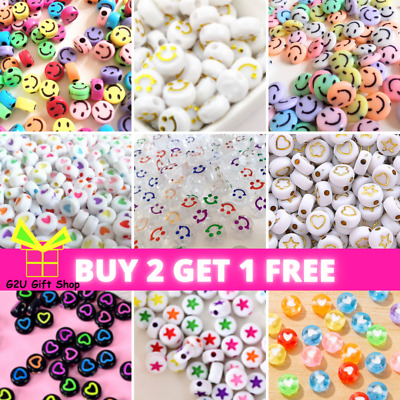 £2.29 • Buy 10mmx60 Smiley Face Beads Love Heart Clear Flat Round Acrylic Beads Jewellery UK