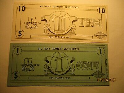 $11 • Buy Military Payment Certificate MPC Training Money $1 And $10 Series FDS 60