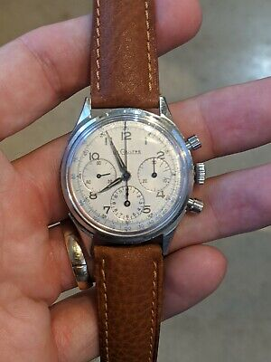 $ CDN1401.53 • Buy LeCoultre Vintage Valjoux Chronograph 35.5mm E335 Stainless, Silver Dial Watch
