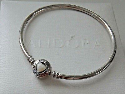AU35 • Buy Authentic PANDORA S/Silver MOTHER OF PEARL HEART CLASP Bangle. Size M