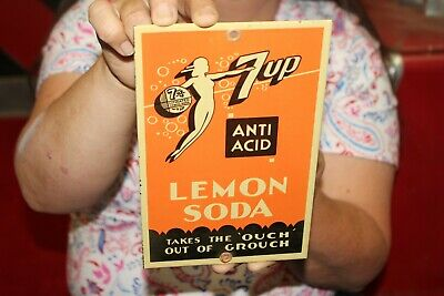 $ CDN15.04 • Buy 7Up 7 Up Anti Acid Lemon Soda Takes The Ouch Out Of Grouch Porcelain Metal Sign
