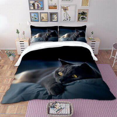 £28.99 • Buy Cat Duvet Quilt Cover Black Bedding Set With Pillowcases Single Double King Size