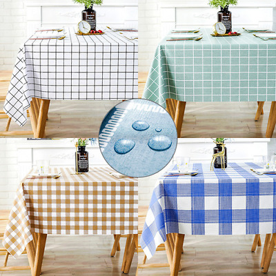 AU56.32 • Buy Plastic PVC Thick Grid Printed Waterproof Oil Proof Dining Table Cloth Cover Mat