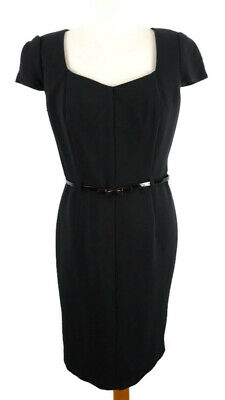£15.76 • Buy M&S Size 12 Black Cap Sleeve Fitted Dress Work Career Office Belt 40s Style