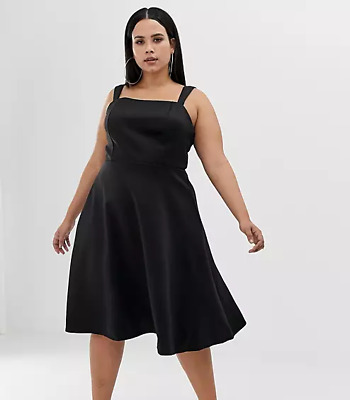 AU28 • Buy RRP$70 New With Tags ASOS Curve Black Stretchy Square Neck Midi Dress Size 16