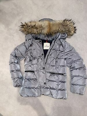 £150 • Buy Moncler Girls Silver Grey Down Coat With Racoon Fur Hood Age 10