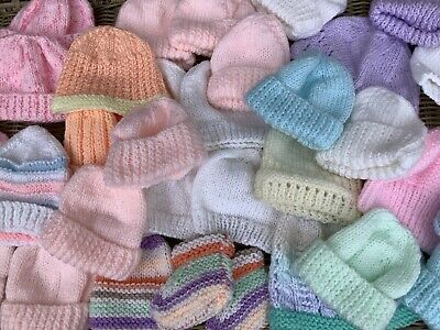£9.50 • Buy Bunch Of 30 New Hand Knitted Premature Baby SCBU Hats