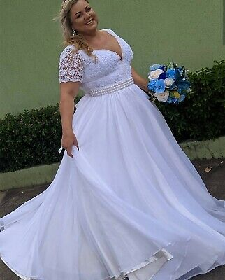 AU203.80 • Buy Plus Size Wedding Dresses With Sleeves Pearly V-neck Corset Back Bridal Gowns
