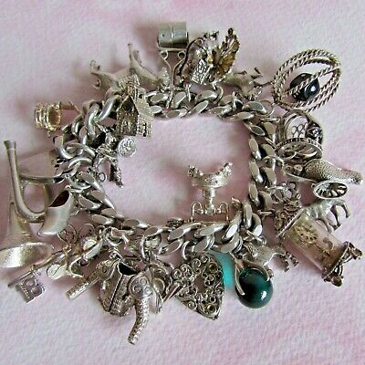 £9.99 • Buy FABULOUS VINTAGE SILVER CHARM BRACELET 25 RARE, OPENING & MOVING WEIGHS 111.4g