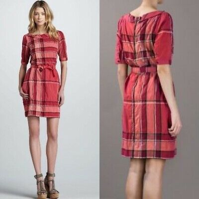 £129.99 • Buy 100% BNWT Authentic Burberry Women's Checked Belted Dress Coral Size UK8