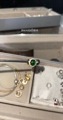 £7 • Buy Genuine Pandora Sterling Silver/Gold Plated Green Bead