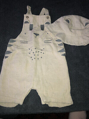 £1.25 • Buy Baby Boy Clothes 3-6 Months Tu Beige Cat Themed Dungaree Shorts Matching Hat VGC