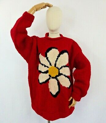£159.99 • Buy Vintage Pachamama 90s Iconic Red Flower Daisy Jumper Sweater Wool Chunky 18 L