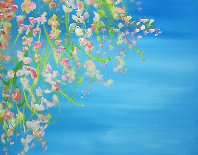 £29.95 • Buy Sea View From A Garden Terrace: A Large Painting On Canvas By Jenny Hare