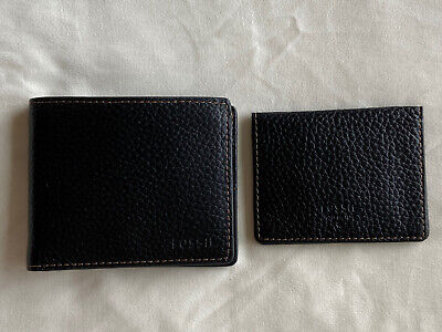 $24 • Buy NWT Fossil Camden Passcase Men Black Leather Bifold Wallet ID Wallet SML1290001