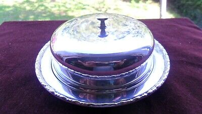 £4.80 • Buy Stylish & Useful Silver-plated Round Covered Butter Dish, With Glass Inserts.