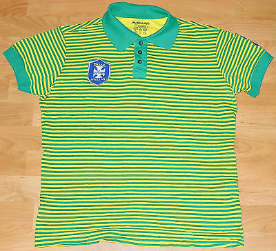 £5.45 • Buy Brazil Polo Shirt Striped Embroidered Hipster Brasil Patch Size Fits Size Large