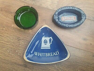 £16.99 • Buy 3 Vintage Ashtrays George Gale & Co Spitfire Ale & Whitbread Brewers Home Bar