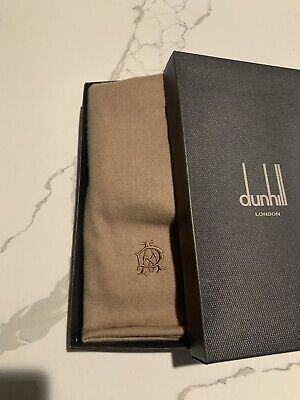 $155 • Buy Authentic Alfred Dunhill Cashmere Scarf Brown / Tan New Never Used In Gift Box