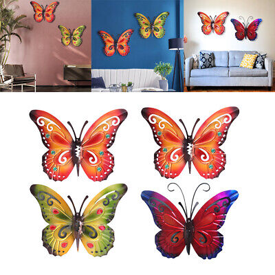 £21.36 • Buy 2Pcs 3D Butterfly Wall Decor Accents Home Living Room Garden Patio Ornament
