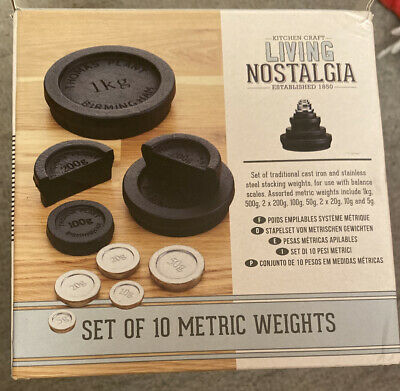 £30 • Buy A Set Of 10 Cast Iron Stainless Steel Kitchen Scale Weights Metric Black New Box