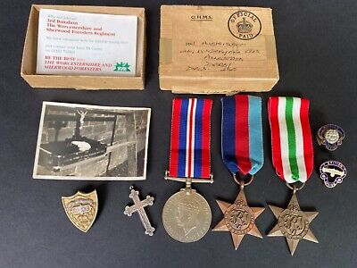 £46 • Buy Named Box WW2 Italy Star Group 1939-1945 Star, War Medal Solid Silver Cross 1893