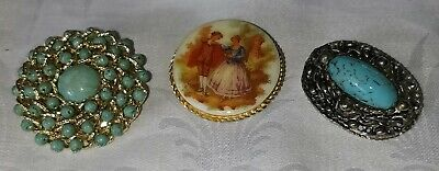 £1.99 • Buy Retro 1980's Collection Of 3 Brooches Turquoise And Fragonard Porcelain Btfp