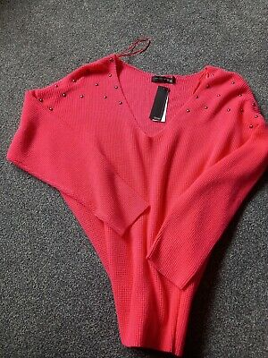 £15 • Buy Captain Tortue Trend Coral Lightweight Studded Jumper Size 12/14 3/4 Sleeve