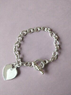 £40 • Buy Silver Charm Bracelet With T Bar And Heart