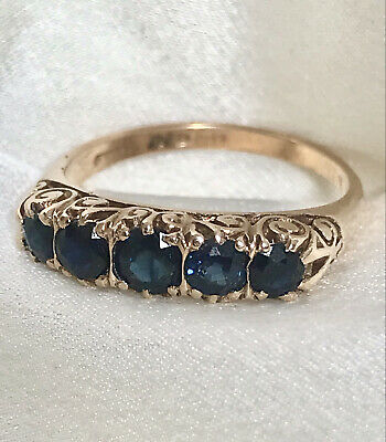 £200 • Buy 9ct Gold Sapphire Eternity Ring Size N Vintage 1970s