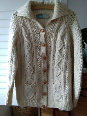 £25 • Buy Aran Cable Knit Cardigan Donegal Wool