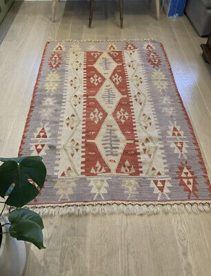 £60 • Buy Authentic Hand Made Turkish Kilim Rug - Red Blue Beige Multi - Used