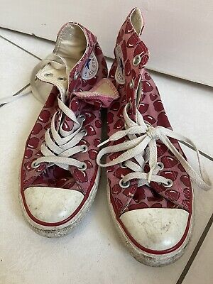 £10 • Buy Converse All Star Trainers Hearts, Pink And Red, Size 5