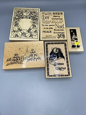 £6 • Buy Christmas Wooden Stamps X 5 Lot 2