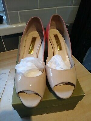 £23 • Buy Rupert Sanderson Pink And Nude Open Toe Patent Wedge - Size (5 1/2) 38.5