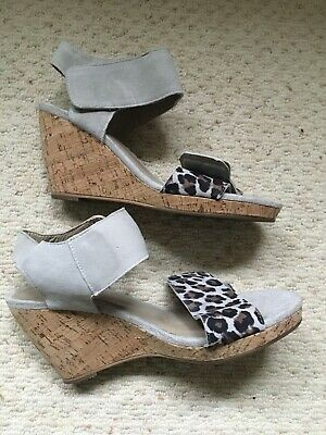 £7 • Buy Cara Leather Suede Wedge Sandals Size 5 / 38 Grey And Animal Print
