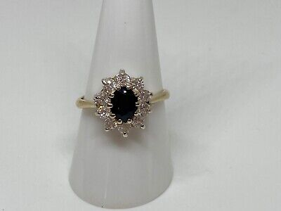 £35 • Buy Vintage 9ct Gold And Silver Set Sapphire? And Clear Cluster Ring Size R 1/2