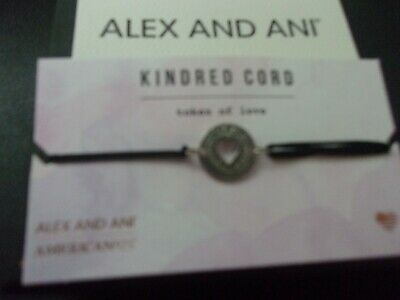 AU17.65 • Buy New Alex And Ani Silver Token Of Love Charm Black Kindred Pull Cord Bracelet NWT