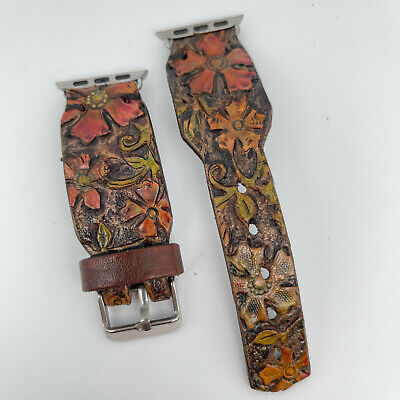 AU21.09 • Buy Genuine Leather Apple Watch Band, Hand Tooled Western Flowers 38/40mm, 42/44mm