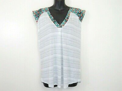 $ CDN3.73 • Buy Anthropologie Little Yellow Button Small V Neck Striped Floral Top Cap Sleeve