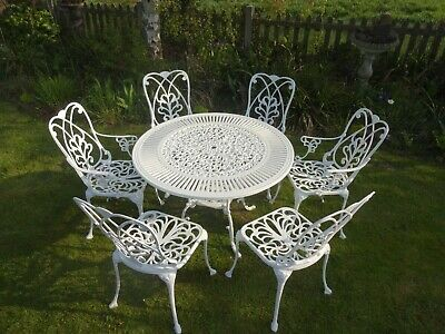£650 • Buy Large Garden Furniture Set - Table And 6 Chairs - Cast Aluminium -