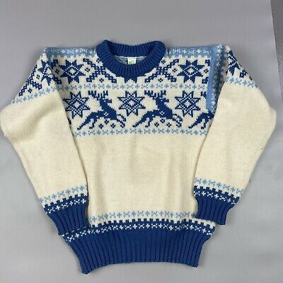 $27.72 • Buy Janus Wool Blue And White Christmas Jumper Size S #