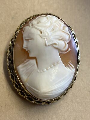 £26 • Buy Antique Victorian Carved Shell Gold Cameo Brooch.