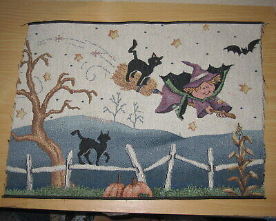 £0.72 • Buy Halloween Little Witch & Black Cats Tapestry Pillow Top Fabric Piece