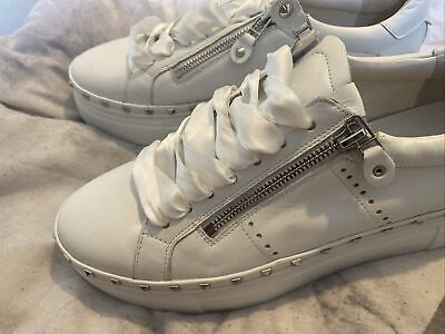 £9.80 • Buy Kennel & Schmenger White Leather Trainers Silver Studs Zips Hardly Worn Size 7