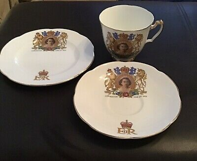 £8 • Buy Queen Coronation Trio Plate, Cup And Saucer 1953 Sharron Hazel Fine China