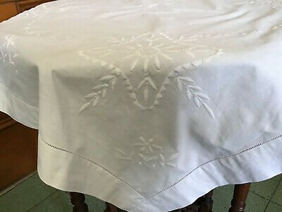 £4.99 • Buy Vintage Cotton Embroidered White Square Tablecloth 33inch Square