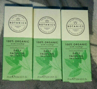 £24.99 • Buy 3 X Boots Botanics 100% Organic With Rosehip Daily Facial Oil 25ml New & Boxed