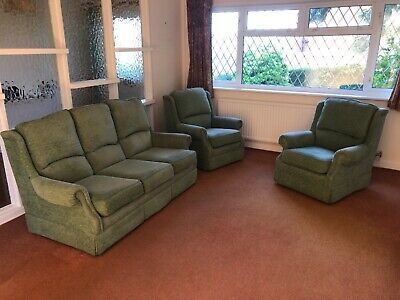 £30 • Buy Three Piece Suite, 3 Seat Sofa And 2 Chairs, green Fabric, Very Good Condition