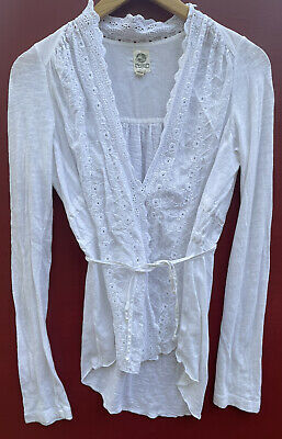 $ CDN28.20 • Buy Anthropologie Sweater Petite Embroidered White Lace Fire Flyaway Eyelet Cardigan
